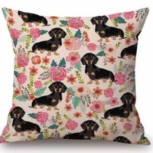 "NWT Dachshund Pillow Cover | Beige Floral 18""x 18"""